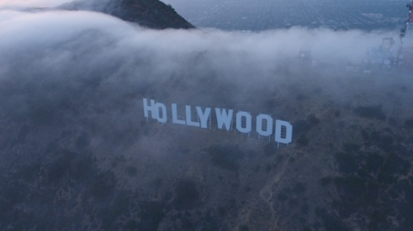 Hollywood Sign Under Thin Clouds Stock Footage